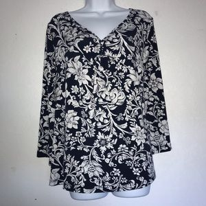 White Stag Stretch Empire Style Floral Top XL